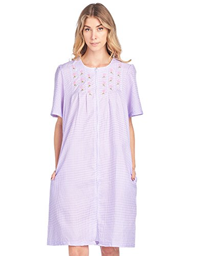 Casual Nights Women's Zipper Front Short Sleeve Gingham Housecoat Duster - Purple - XX-Large by Casual Nights