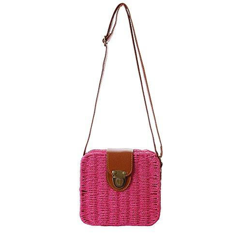 Shoulder Crochet Satchels Handbag Bag Straw Red Beach Crossbody Women Messenger Rose IRPqwpS
