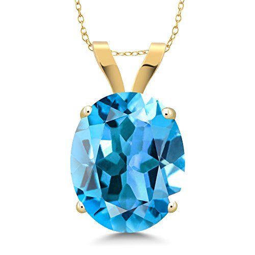 14K Yellow Gold Swiss Blue Topaz Pendant Necklace 4.00 Ct Oval With 18 Inch Chain 14k Yellow Gold Swiss