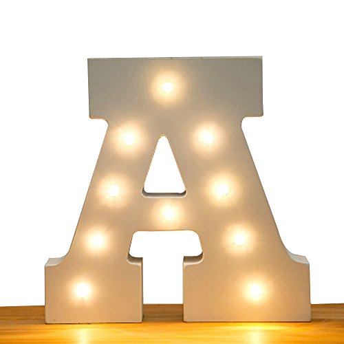 Kerong DIY LED Light up Wooden Alphabet Marquee Letter Lights for Festival Decorative Home Party Wedding Scene Holiday Birthday Christmas Valentine,Battery Operated Warm White (A)
