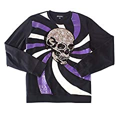 Men's Long Sleeve Sequin Skull Crewneck Sweater