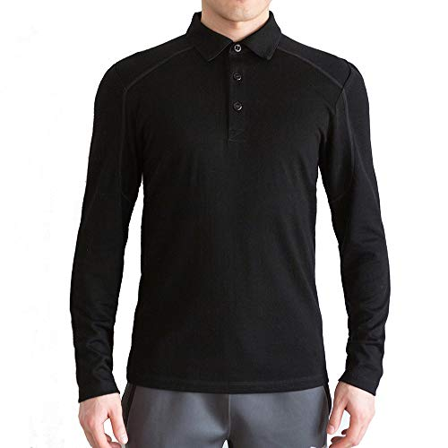 Sheep Run Men's Outdoor Long Sleeve Merino Wool Polo Shirts (XL) Black ()