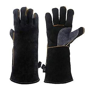 Guanti in pelle resistenti al calore estremo e resistenti al fuoco, guanti da barbecue per saldatura a manica lunga 932… 11 spesavip