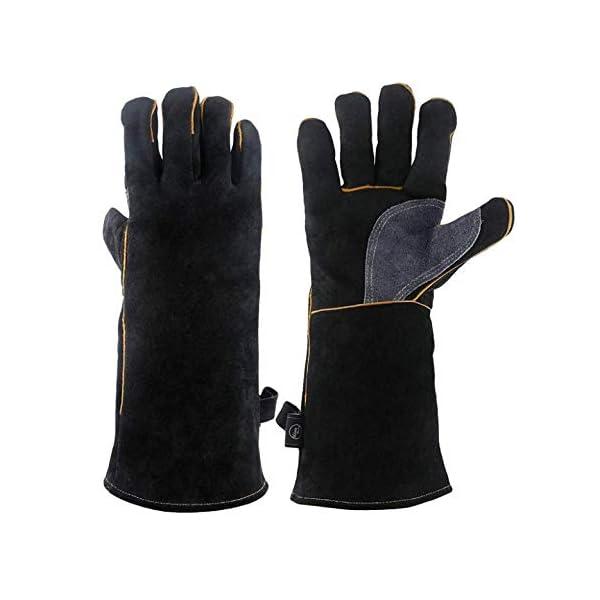 Guanti in pelle resistenti al calore estremo e resistenti al fuoco, guanti da barbecue per saldatura a manica lunga 932… 1 spesavip