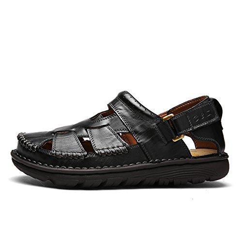 Mens Leather Casual Walking Sandal (7 D(M) US, Black)