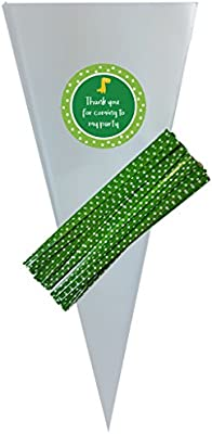 Polka Dots Grey Sticker Labels for Party Bag Sweet Cones