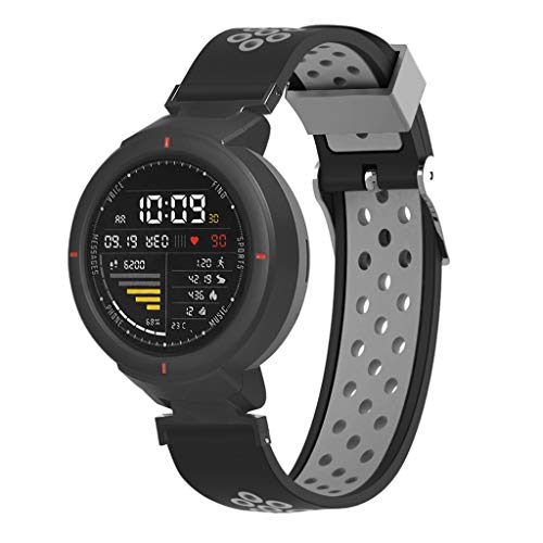 Price comparison product image Cywulin Silicone Sports Band for Huami Amazfit Verge,  Xiaomi Smartwatch Quick Release Loop Soft Breathable Replacement Wrist Strap for Women Men Amazfit Verge A1801 with Air Holes Ventilation (Black)
