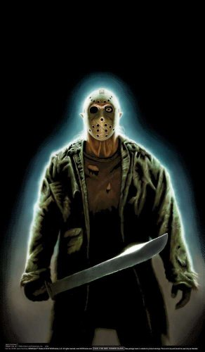"WOWindow Posters Jason Voorhees Friday the 13th Halloween Window Decoration includes 34.5""x60"" Backlit Poster"