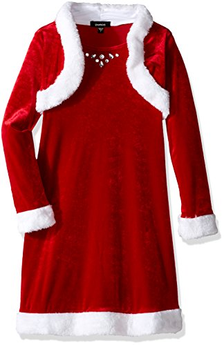 ZUNIE Girls' Little Girls' Velvet Santa Dress with Faux Fur Shrug and Jewels, Red, 5 -