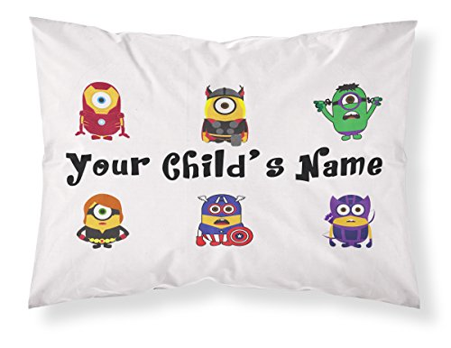 Customizable, Minions Themed Pillowcase, Featuring Ironman, Thor,The Incredible Hulk, Black Widow, Captain America and Hawkeye. Personalized With Your Child's Name - Perfect Gift For Boys Of All Ages! - Personalized Incredible Hulk