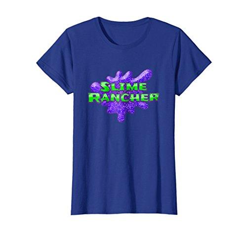 Womens Slime Rancher Neon Green Purple Glitter Tee Medium Royal Blue