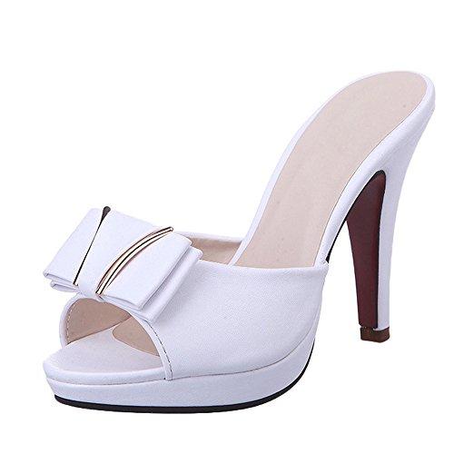 Slides High Heel Sexy - Gaorui Women Sexy Slip on Peep Toe Sandals High Heel Slipper Open Toe Dress Shoes White