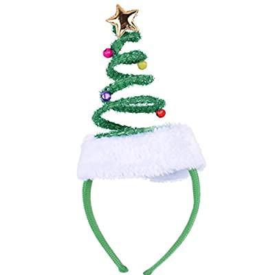 ADJOY Springy Christmas Tree Headband with Bells Santa Headwear - One Size Fits Most: Toys & Games