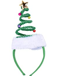 Springy Christmas Tree Headband with Bells Santa Headwear - One Size Fits Most