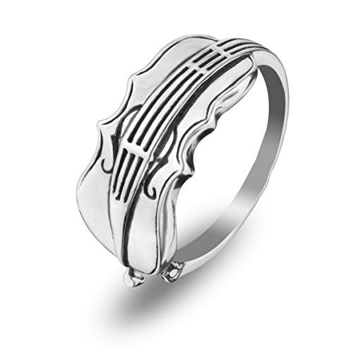 Violin Viola Cello 925 Sterling Silver Statement Ring Fiddle Music Player Teacher Lover gifs for Musicians Steampunk Jewelry