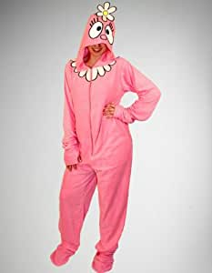 Yo Gabba Gabba Foofa Adult Halloween Costume Footed Hooded Pajamas - Size: XL