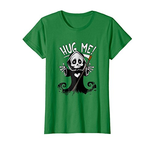 Womens Halloween Hug Me Funny Grim Reaper Costume T shirt XL Kelly (Lady Grim Reaper Costumes)