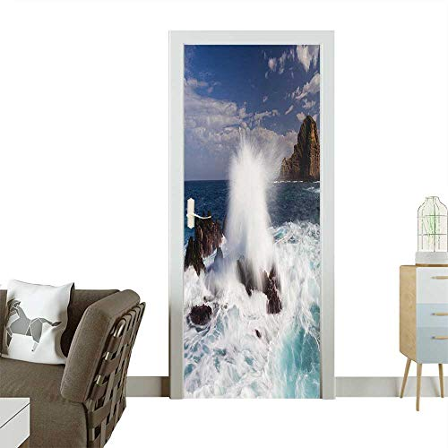 (Door Sticker Wallpaper Giant Waves on Rocks with Splashes in South Portugal Coastline Picture Blue Fashion and Various patternW35.4 x H78.7 INCH)