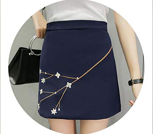Harajupring Korea High Waist Thin Fl Plum Embroidery SkirtCute Kawaii Skirts for,Royal Blue,L