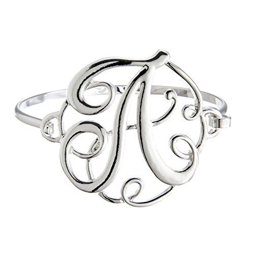 PammyJ Silvertone Initial A Bangle Bracelet