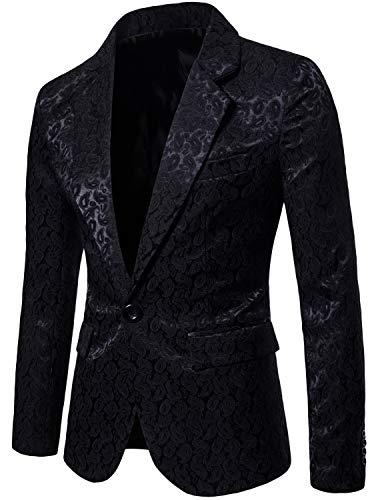 ZEROYAA Mens Jacquard Paisley One Button Single Breasted Dress Suit Jacket Wedding Blazer Prom Tuxedo ZHSJ02 Black Large (Dress Jacquard Coat)