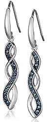 Sterling Silver Montana Blue Swarovski Crystal Twisted Dangle Earrings