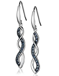Sterling Silver Montana Blue Swarovski Crystal Twisted Dangle Earrings