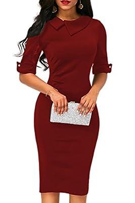 BETTE BOUTIK Women's Retro Bodycon Below Knee Formal Office Dress Pencil Dress With Back Zipper
