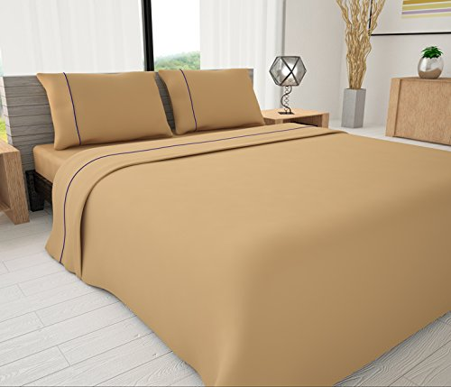 Livingston Home Pinzon 33039 625 Series Solid Sheet Set with Piping Accents Tan Queen