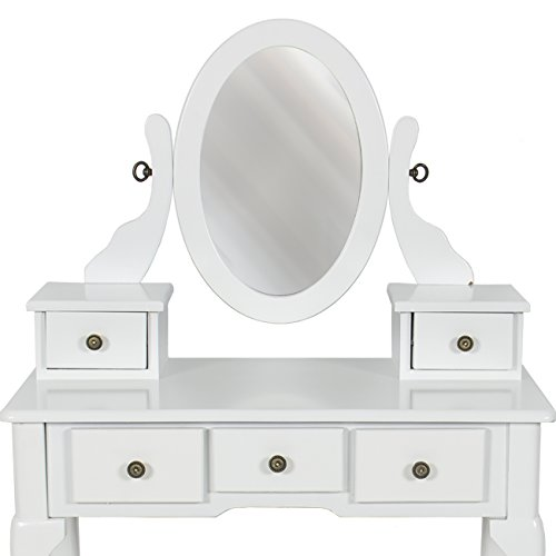 Best Choice Products Bathroom Vanity Table Set Jewelry Makeup Desk Hair Dressing Organizer, White by Best Choice Products (Image #2)