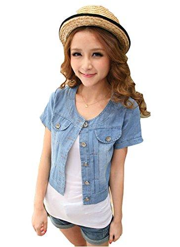 easy-women clothes Easy Fashion Ladies Women Jean Denim Jacket Outwear Short Sleeve Sweet ()
