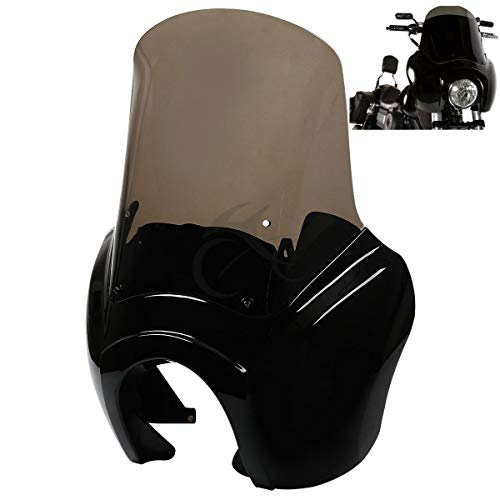 XFMT TSport Front Fairing Outer Club Warrior Quarter Fairing Windshield Kit Headlight Fairing Cover Compatible with Harley Dyna Fat Bob FXDF T-Sport (Quarter Fat Club)
