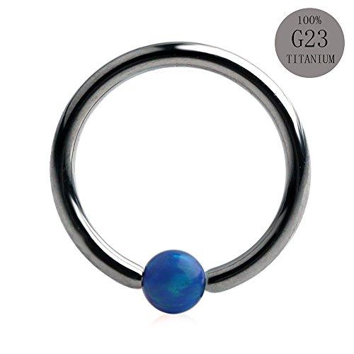 Ruifan 1PC 16G Grade 23 (G23) Titanium Blue Synthetic Opal Captive Bead Ring Nose Septum Hoop Piercing Jewelry (Titanium Captive Hoop)