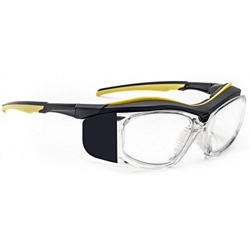 Radiation Safety Glasses in Black/Yellow Plastic Safety Frame - 55-19-125mm Eye Size - Schott .75Pb Clear Lead Lenses