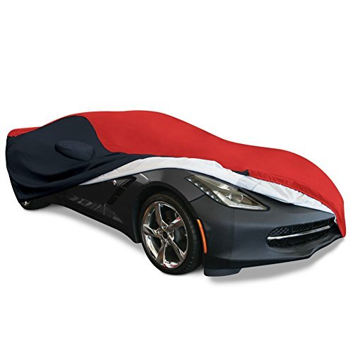 Corvette Z06 Car Cover - 2014-2018 C7 Stingray, Z51, Z06, Grand Sport Corvette Ultraguard Plus Car Cover - Indoor/Outdoor Protection (Red/Black)