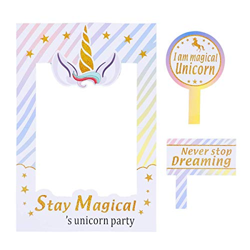 (Party Avenue Unicorn Photo Props Frame | Magical Unicorn Photo Frame | Rainbow Birthday Party Supplies Decorations | Unicorn Photo Booth Props | Unicorn Birthday Party)