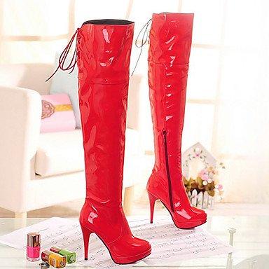 LFNLYX Mujer-Tacón Stiletto-Botas a la Moda-Botas-Fiesta y Noche-Cuero Patentado-Negro / Rojo / Blanco Red