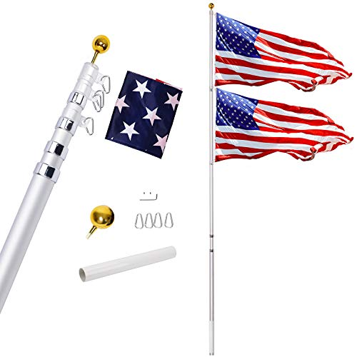 Gientan 25FT Telescopic Flag Pole Kit 3x5 US Flag, Heavy Duty 16 Gauge Aluminum American Inground Telescoping Flagpole Set Stainless Steel Clips Commercial Residential, Silver]()