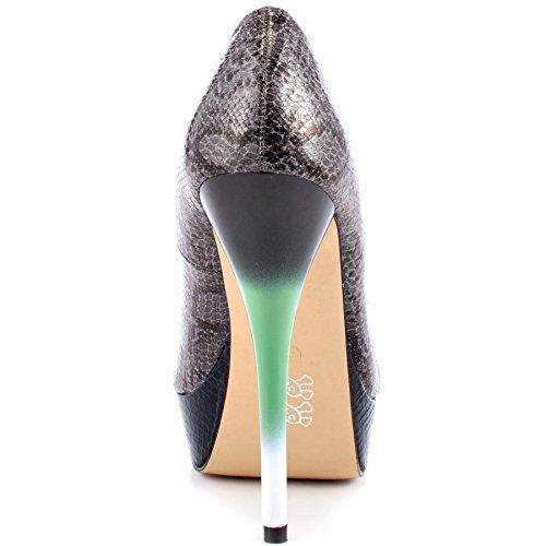 Iron Fist Rupaul de Piel de Serpiente Zapatos de Diseño de Leigh Ann Tennant - Gris Oscuro JBs25