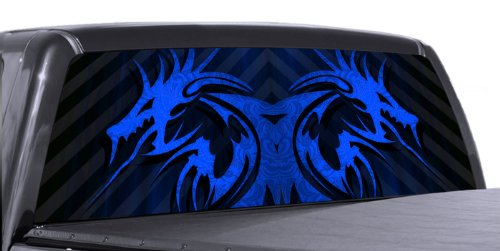 VuScapes - BLUE TRIBAL DRAGON - Rear Window Truck Graphic - decal suv view thru vinyl