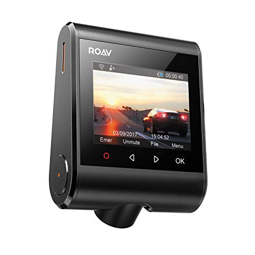 Roav DashCam C1 Pro, by Anker, 2K Resolution 2560X1440, Built-in GPS/Wi-Fi, 2.4 Inch LCD, 4-Lane Wide-Angle View Lens, G-Sensor, WDR, Loop Recording, 2-Port Charger, 32G microSD Card, Easy Sharing