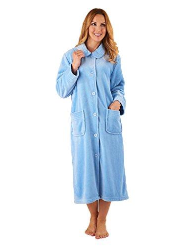Slenderella HC2301 Women's Blue Long Sleeve Robe Dressing Gown Med