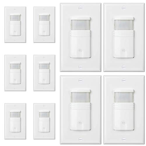 - (Pack of 10) White 3-Way Motion Sensor Light Switch - NEUTRAL Wire Required - For Indoor Use - Vacancy & Occupancy Modes - Title 24, UL Certified - Adjustable Timer