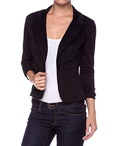 A.S Juniors Casual Three Quarter Sleeve Fitted Blazer-Black-Small (Fitted Jacket Juniors)