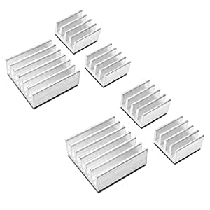 Addicore 6 Piece Raspberry Pi B B+ 2 and 3 Heatsink Set (2 Sets of 3 Aluminum Heat Sinks)