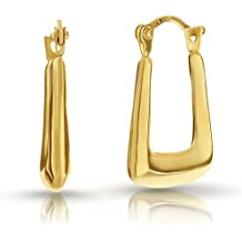 10K Solid Gold Square Puff Hoop Earrings Hoops with Saddle-back / French Lock Closure by Pori Jewelry