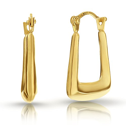 10K Solid Gold Square Puff Hoop Earrings Hoops with Saddle-back / French Lock Closure by Pori (French Lock)