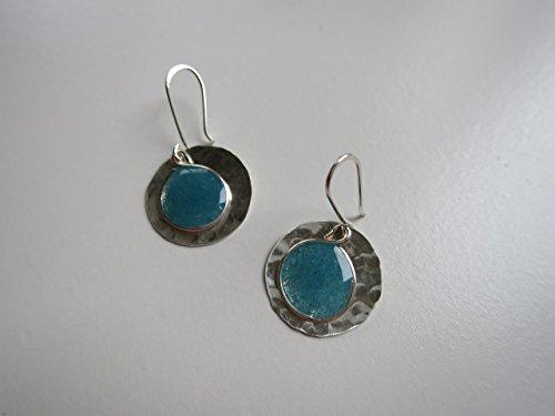 Aqua resin,aluminum and sterling earrings