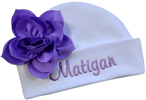 Personalized Embroidered Baby Girl Hat with Lotus Flower Your Custom Name (White Hat/Orchid (Lotus Girl)