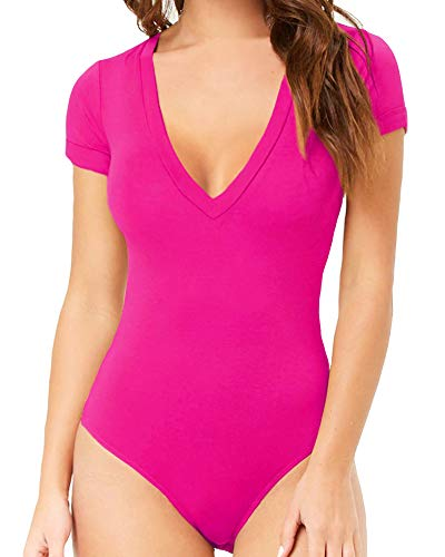 - MANGOPOP Womens V Neck Short Sleeve Bodysuit Jumpsuit (Rose Pink, X-Large)
